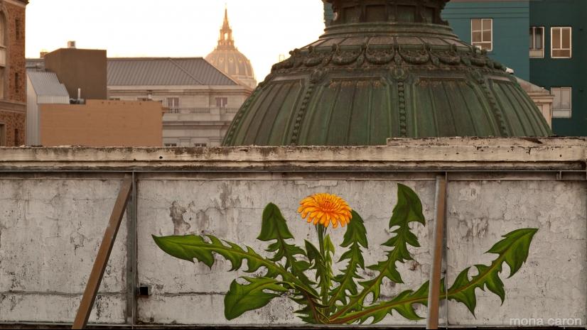 Murale di Mona Caron con Tarassaco in San Francisco, CA