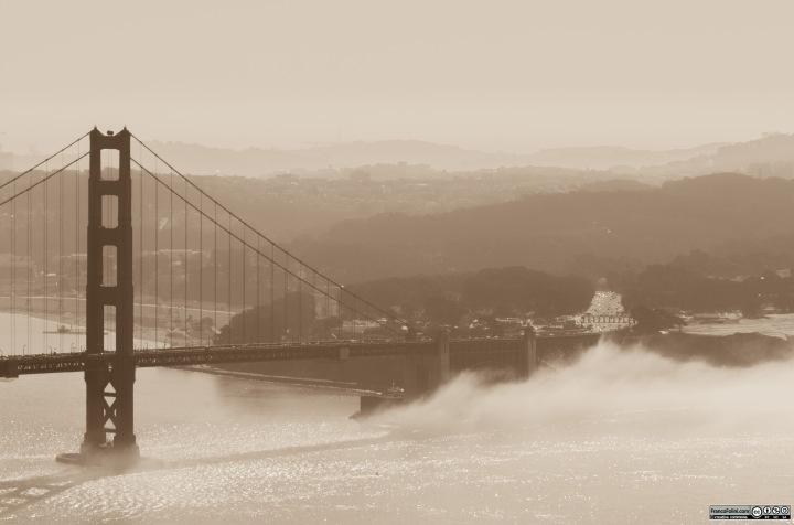 Golden Gate Bridge and the fog, San Francisco, CA