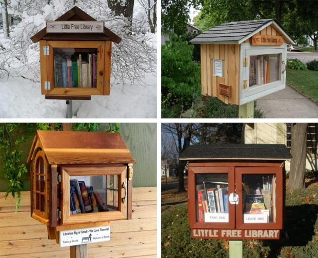 Alcune Little Free Library negli Stati Uniti