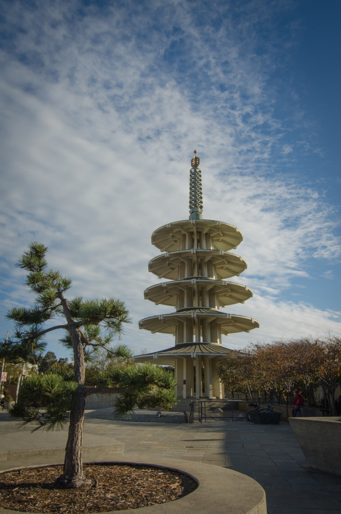 Peace Pagoda (made of concrete) in Japantown San Francisco, CA