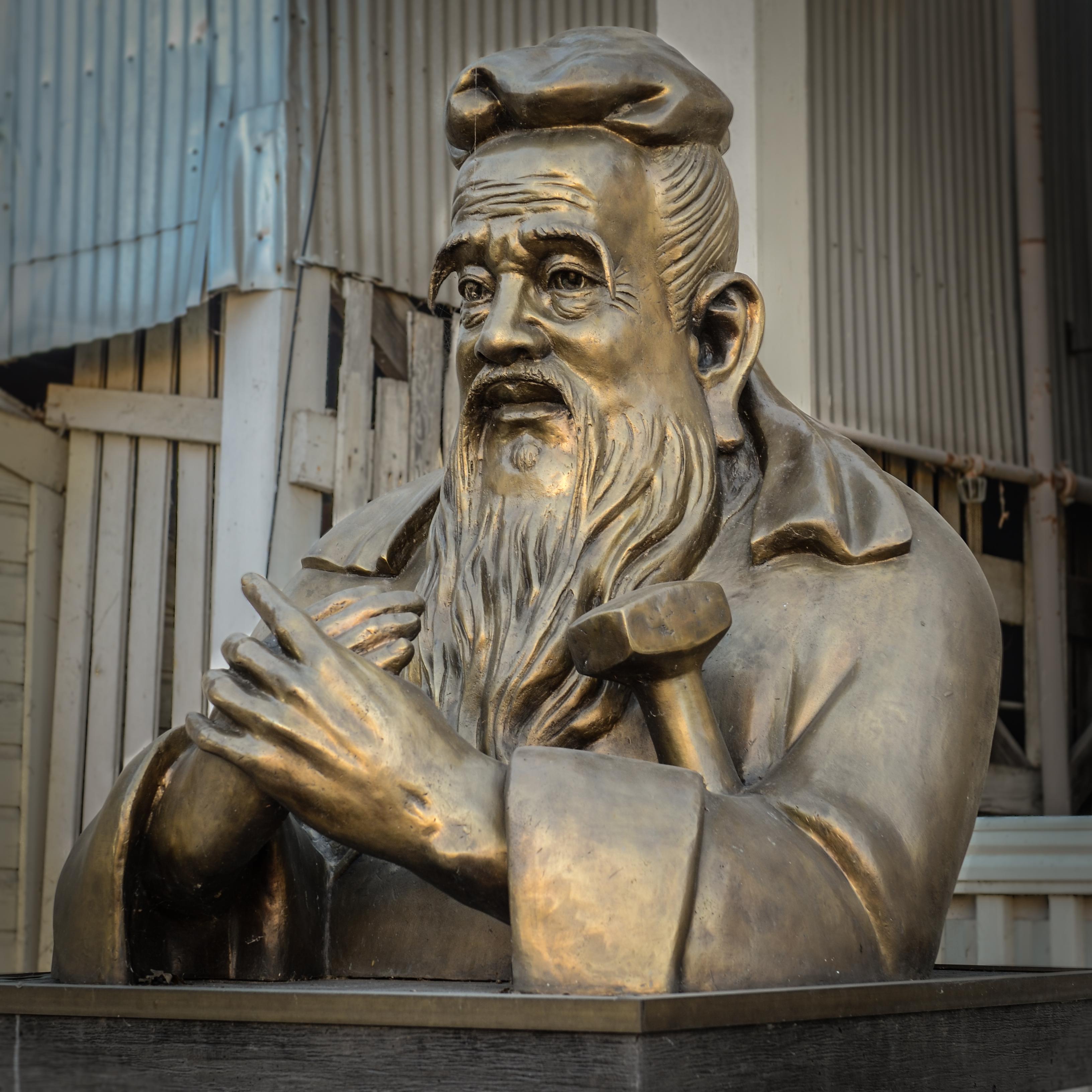 Confucius (551BC - 479BC). Bronze statue in Locke, CA