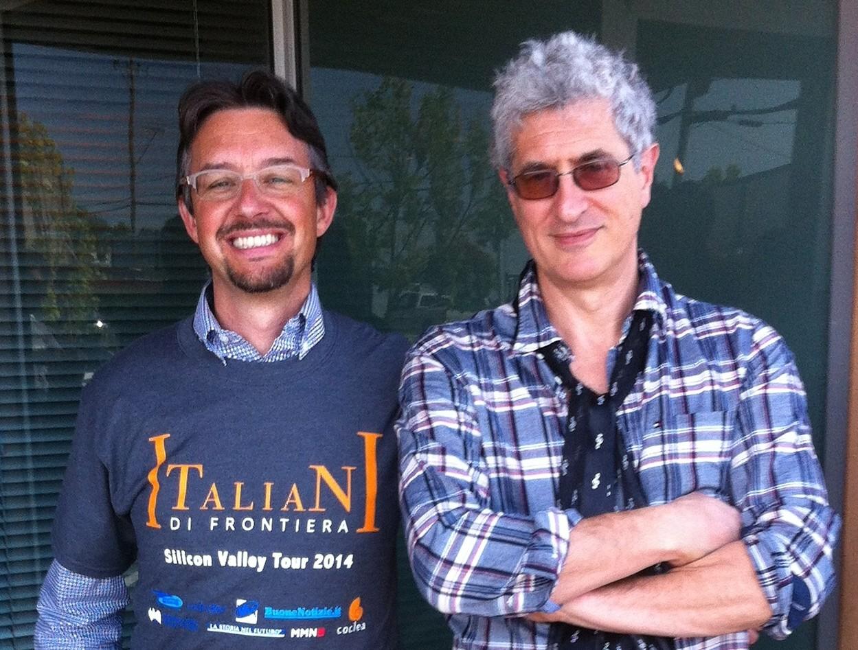 Roberto Bonzio con Fabrizio Capobianco, imprenditore valtellinese in Silicon Valley
