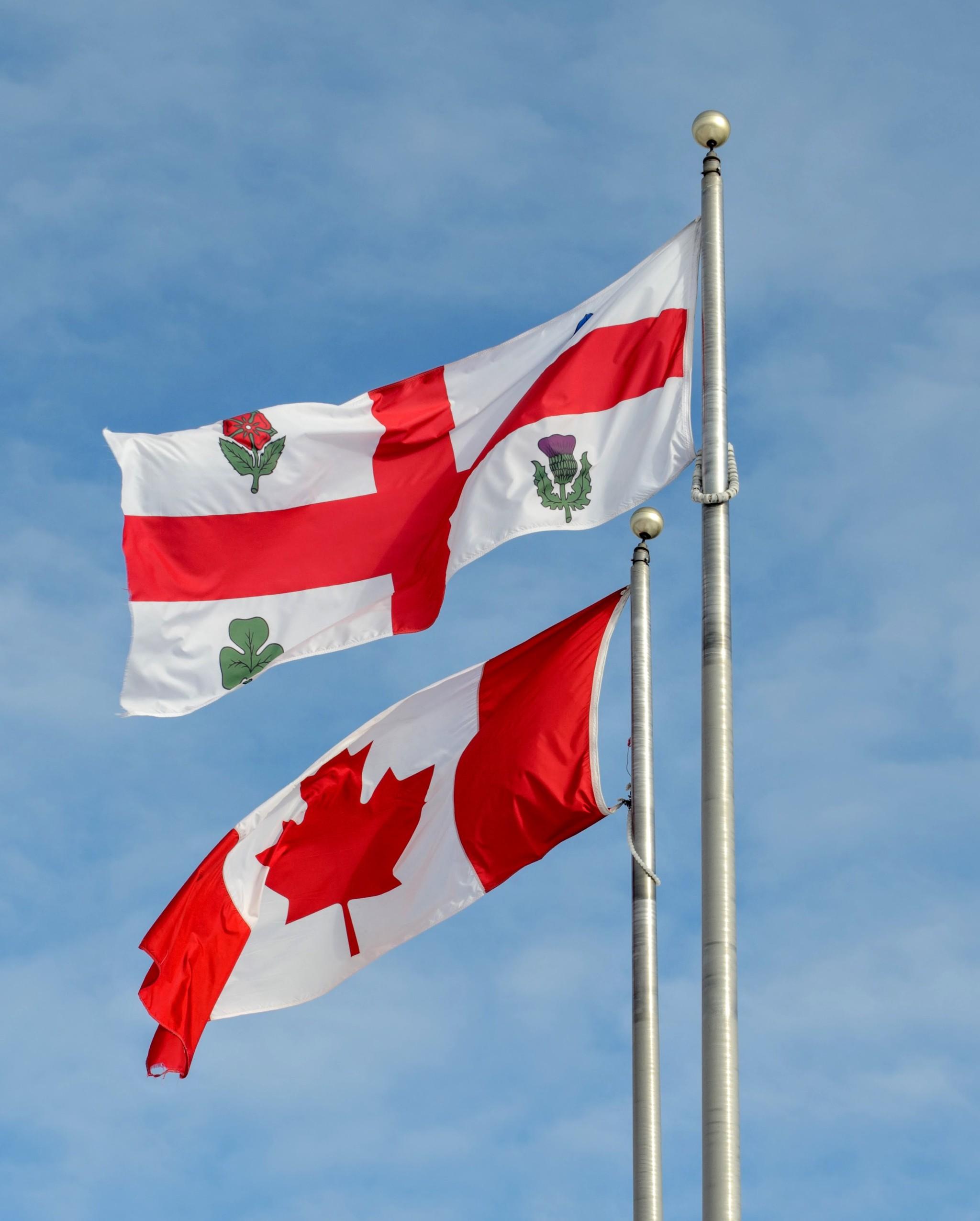 Bandiere Canadese e del Quebec a Montreal, Canada