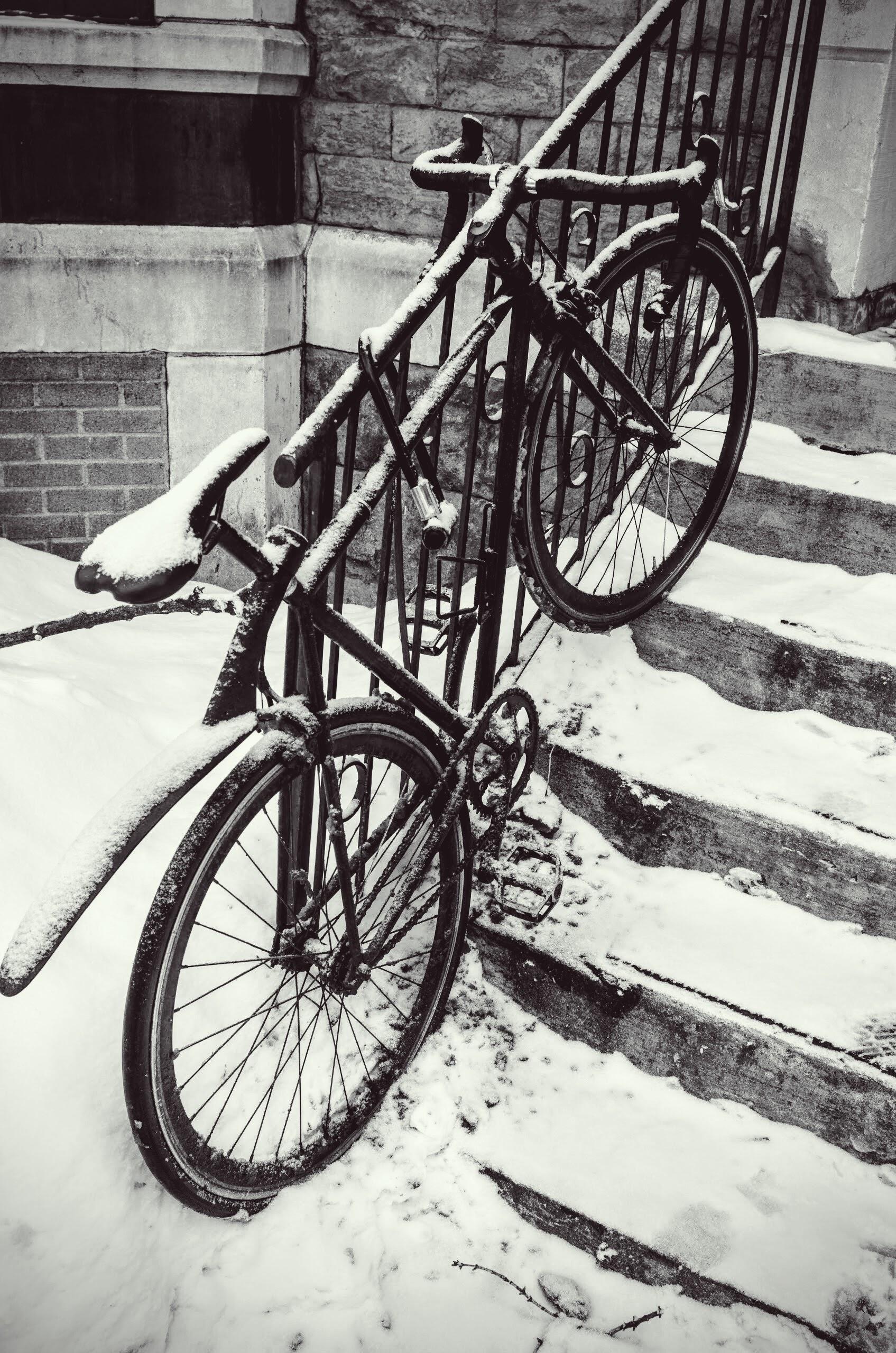 Montreal, nella regione del Quebec, Canada. Molti studenti utilizzano la bicicletta per spostarsi anche nel nevoso periodo invernale.