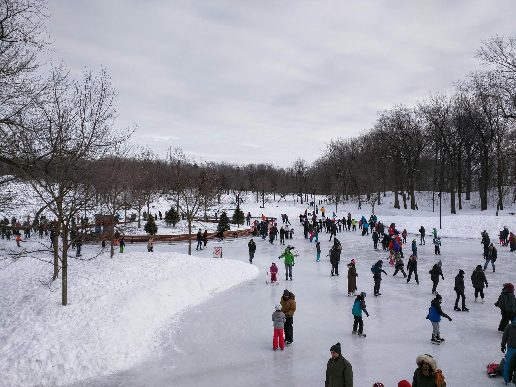 Pattinaggio su ghiaccio al Lago dei Castori (Beaver Lake), Montreal, regione del Quebec, Canada