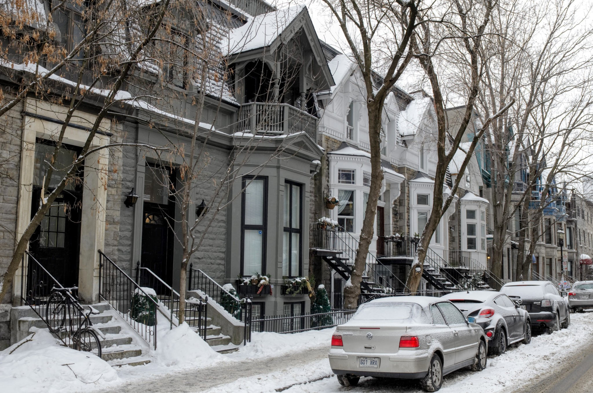 Via innevata a Montreal, regione del Quebec, Canada
