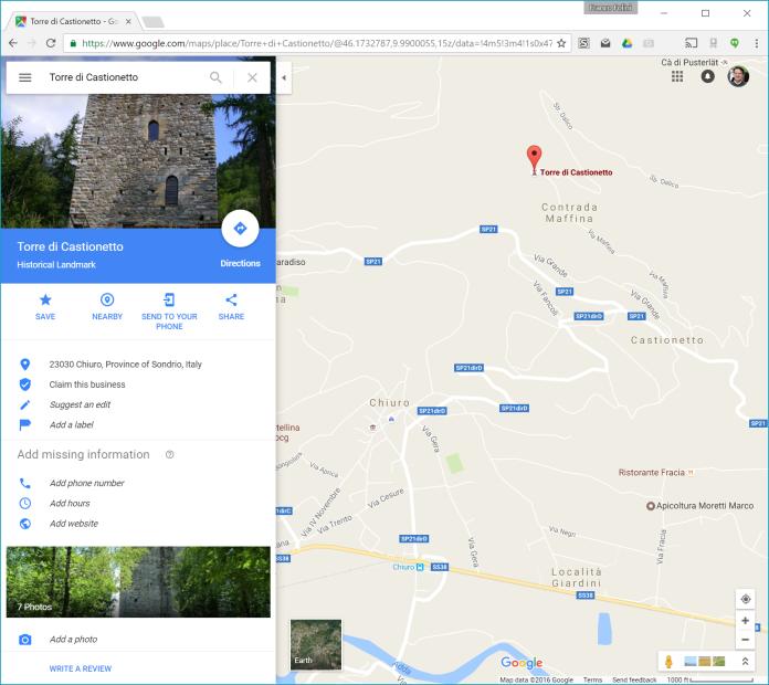 Google Maps: Torre di Castionetto