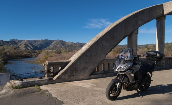 Kawasaki Versys 1000 LT, bridge over Cache Creek in Rumsey