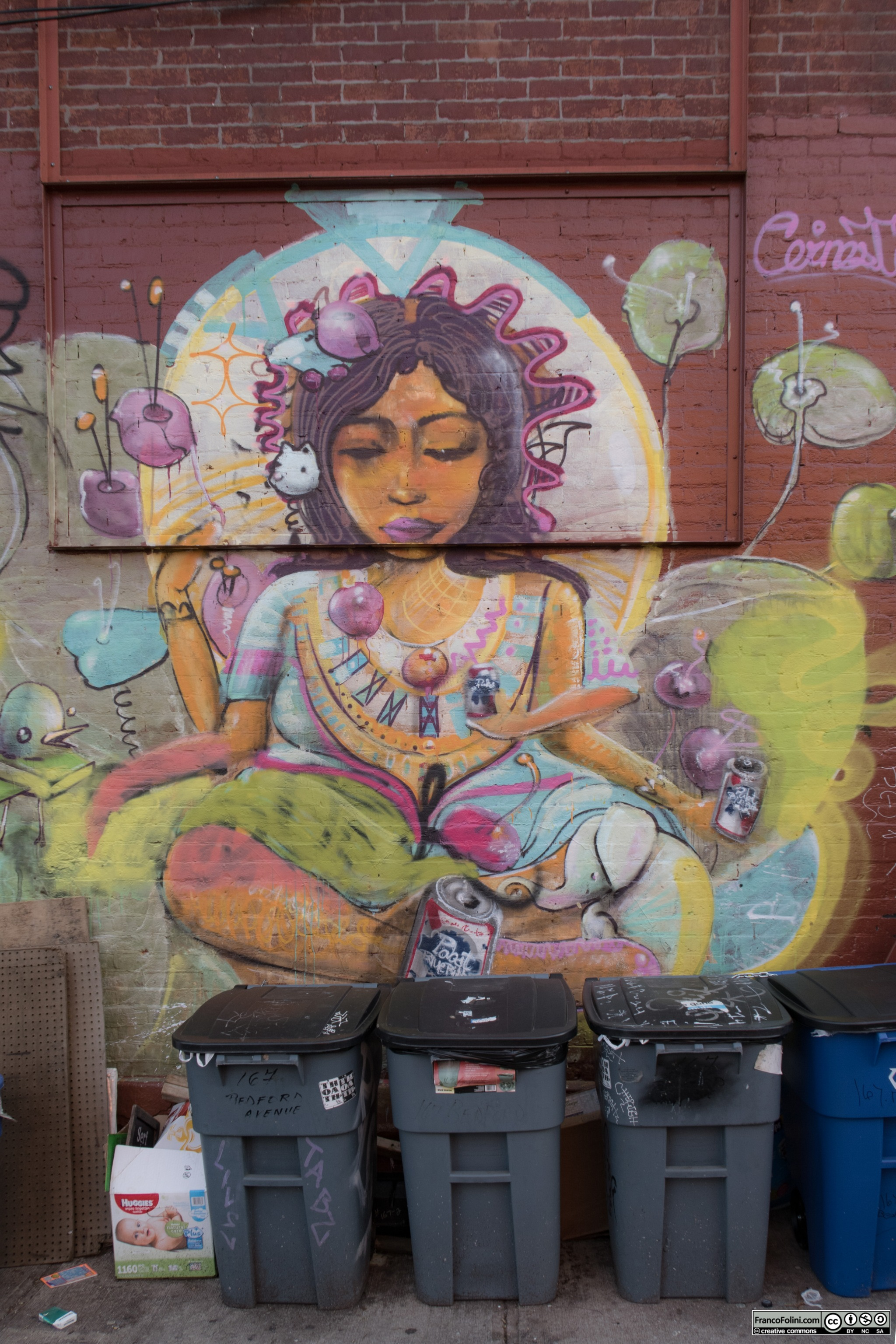 """A goddess"" mural by Cernesto, Brooklyn, New York, US"