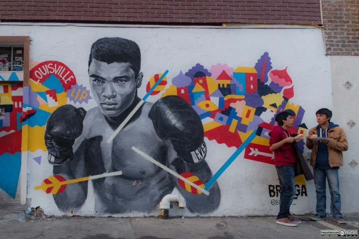 """Muhammad Ali"" mural by Brolga, Bedford Avenue & N 5th street, Williamsburg, Brooklyn New York, USA"