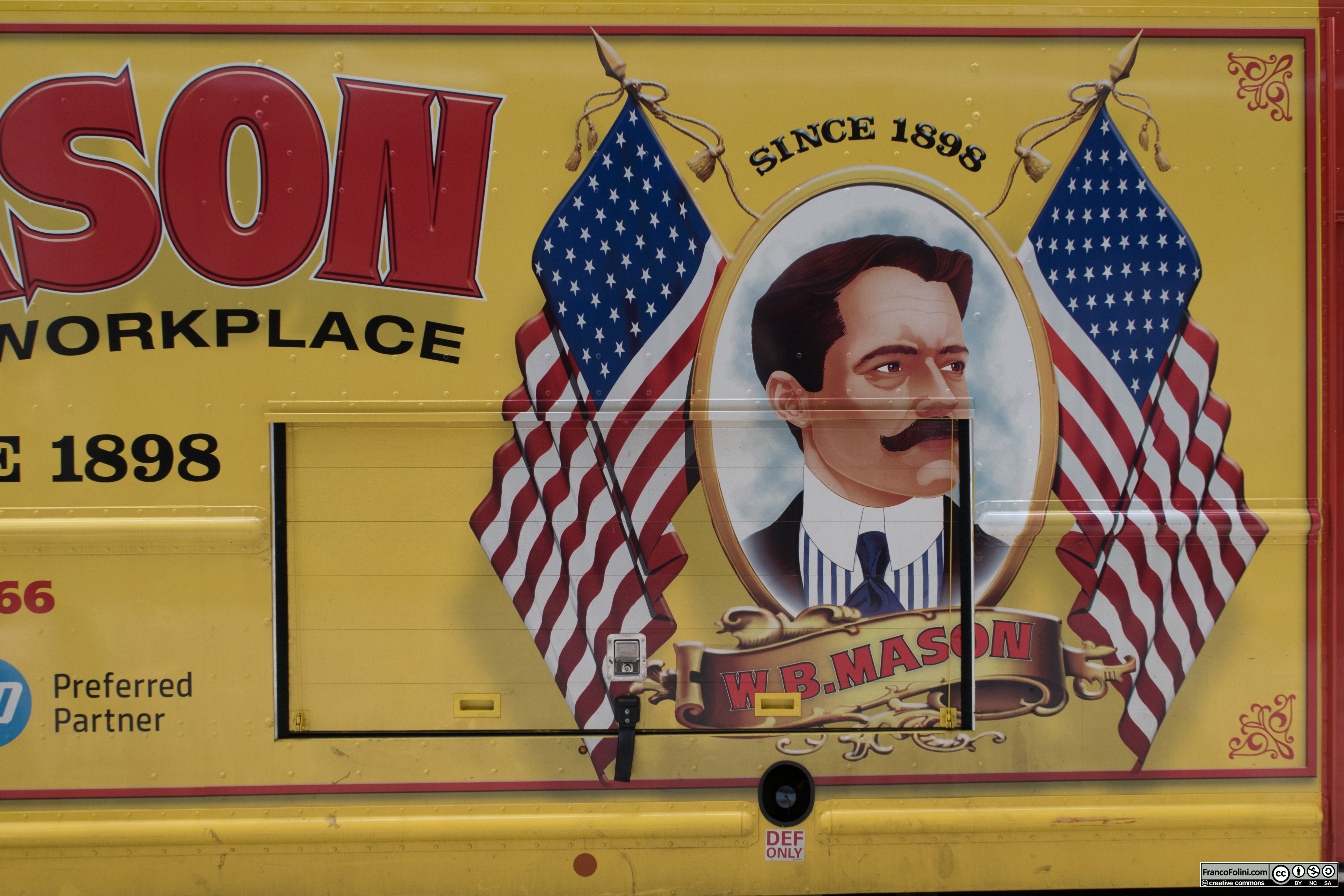 """Truck with """"W. B. Mason"""" company painted ad, NYC"""