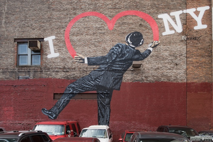 """I Love New York"" mural by Nick Walker, 17th Street and 6th Ave, Flatiron District,, Manhattan New York USA"