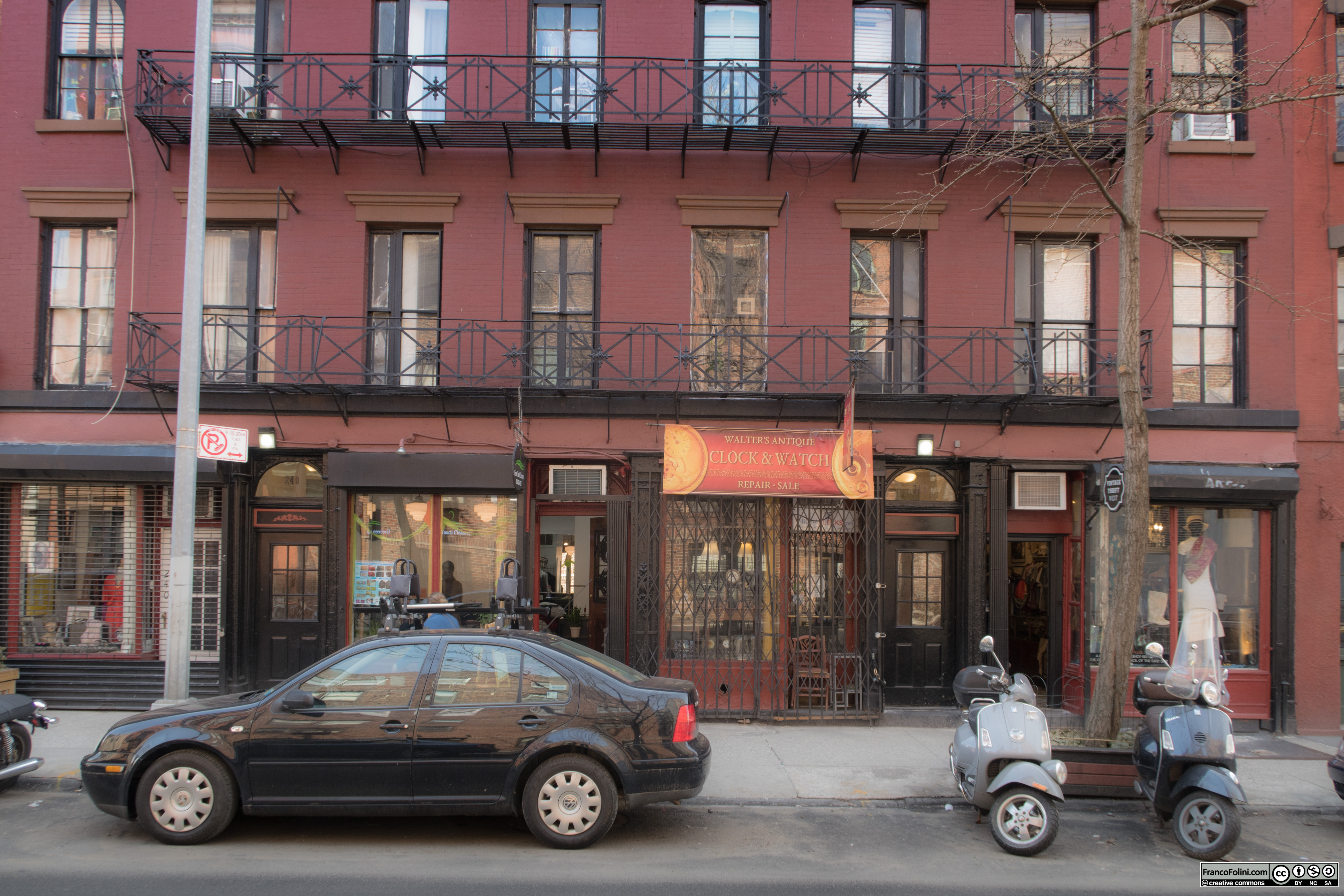 Old building and shops in the in West Village, NYC