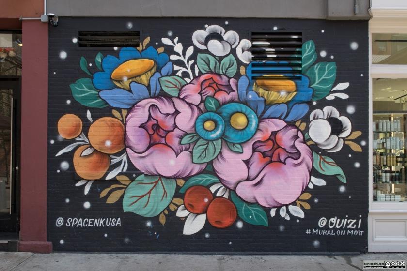 Mural by Ouizi and SpaceNkUsa on Mott Street, Manhattan New York