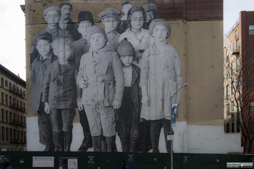 """Unframed, Ellis Island"" gigantic mural by JR Parisian artist, 100 Franklin Street, Tribeca, Manhattan, NYC"