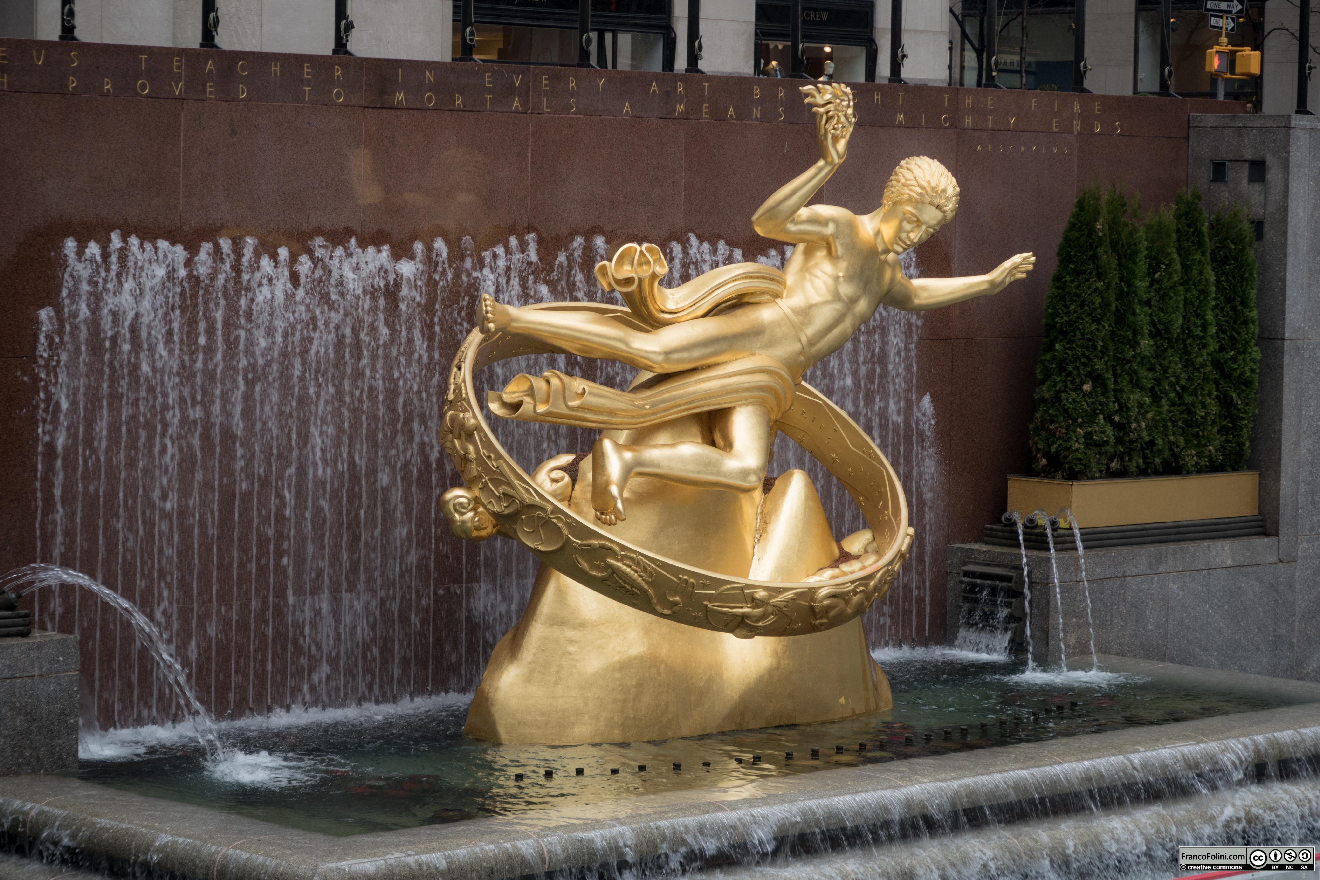 Prometheus statue at the Rockefeller Center in Manhattan, New York City