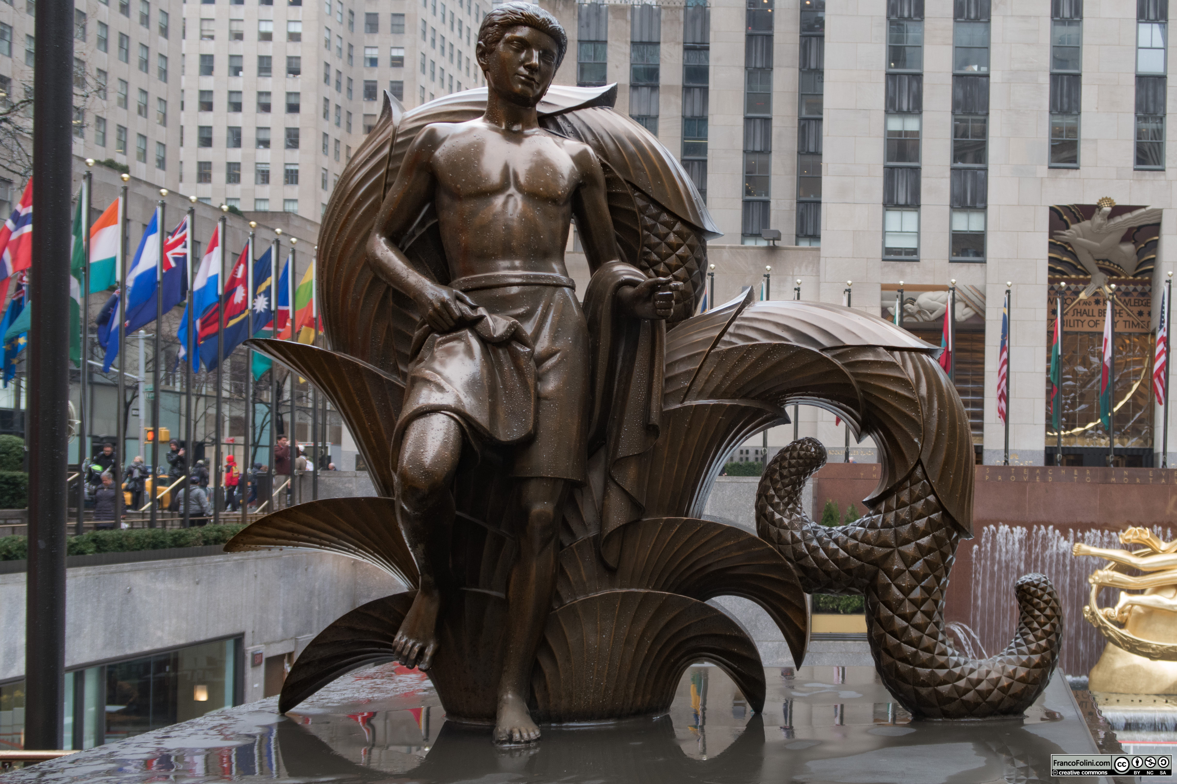 Youth cast bronze statue by Paul Manship (1936), NYC