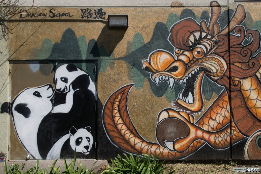 Pandas and Dragons mural, Chinatown Neighborhood of Oakland