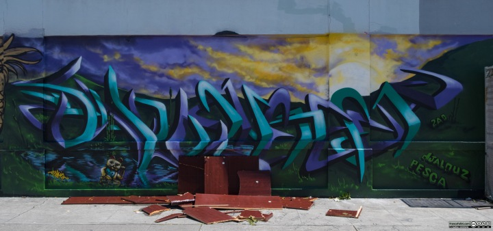 Graffiti by Djalouz and Pesca, Chinatown Neighborhood of Oakland