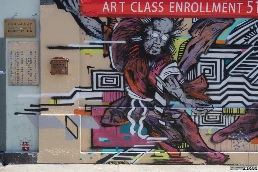 Asian figure mural, Chinatown Neighborhood of Oakland