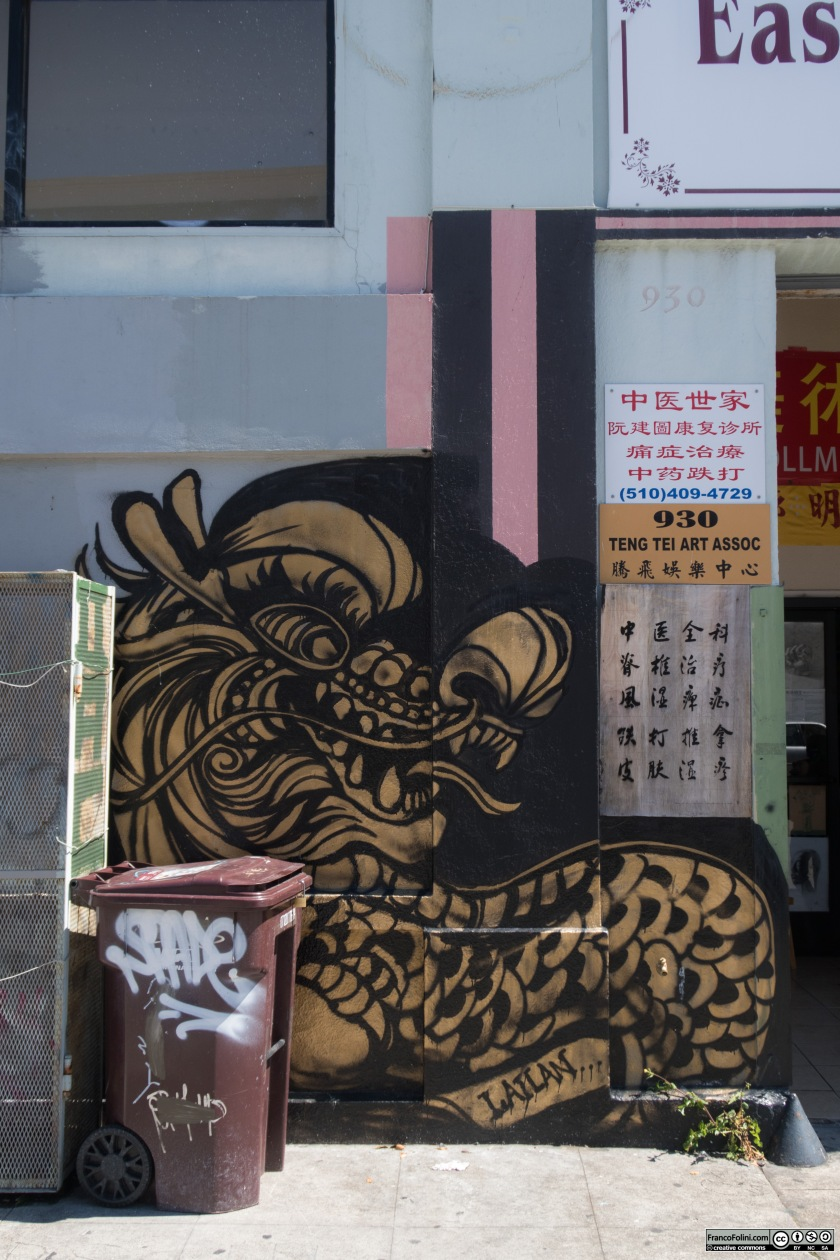 Dragon mural by Lailan Huen, Chinatown Neighborhood of Oakland