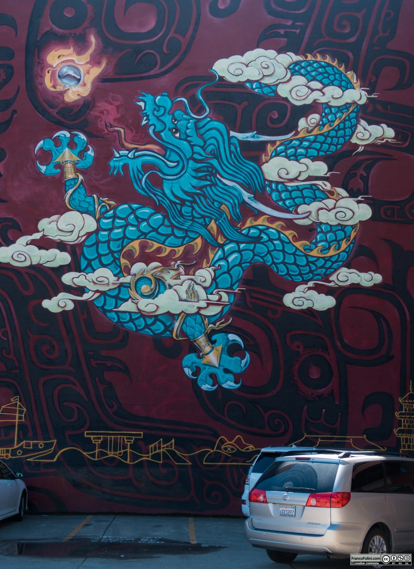 Big Dragon mural by Lailan Huen, Thomas Wong, John Hina, Jose Garcia, and Sylvia La., Chinatown Neighborhood in Oakland