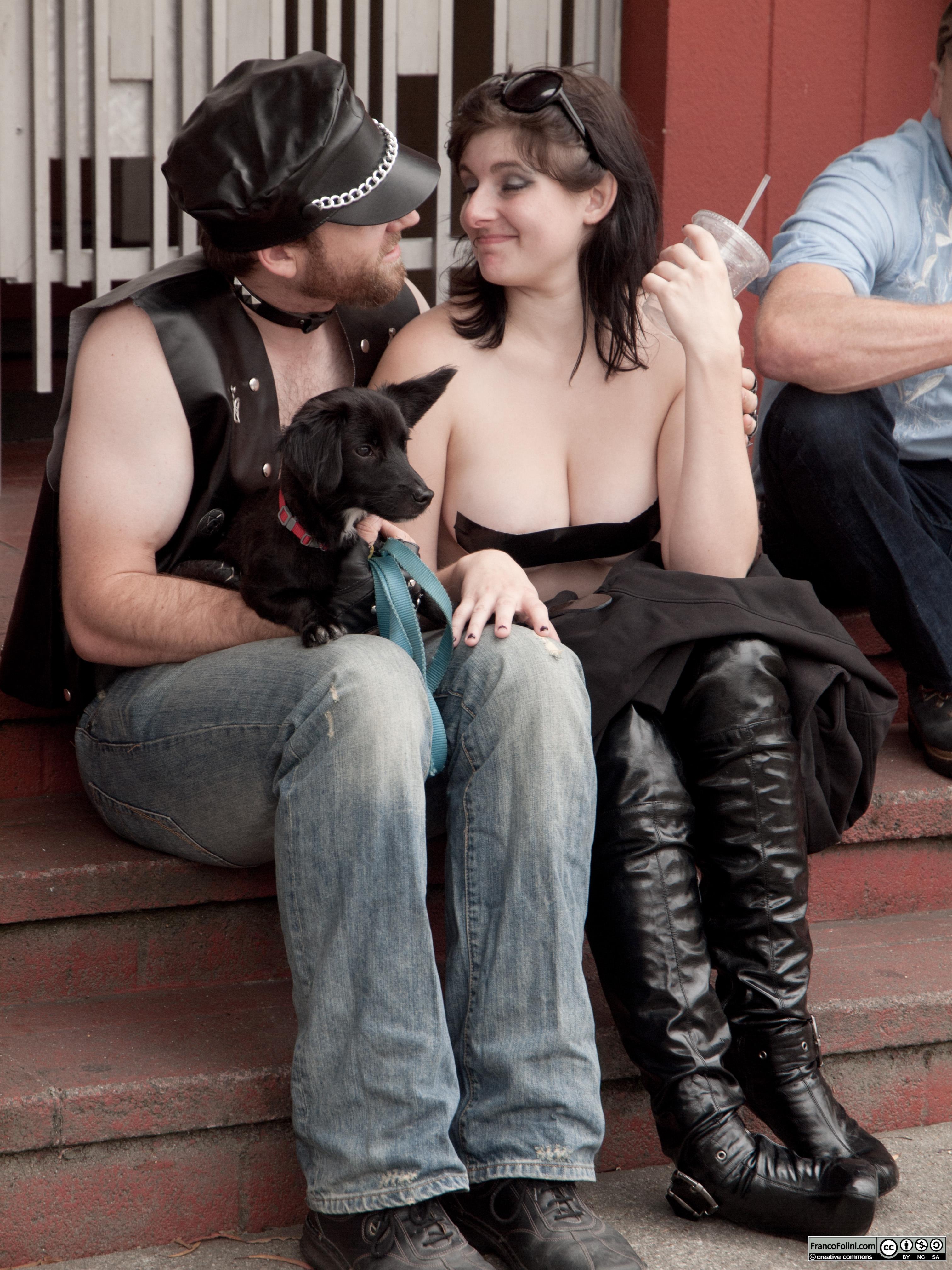 San Francisco Folsom Street Fair: couple with dog