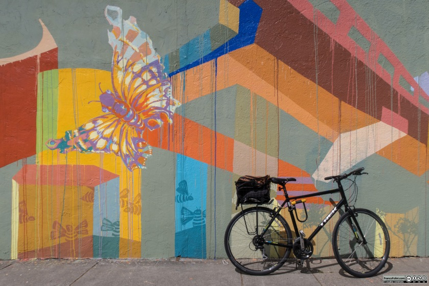 Bike and mural along the Ohlone Greenway bike path