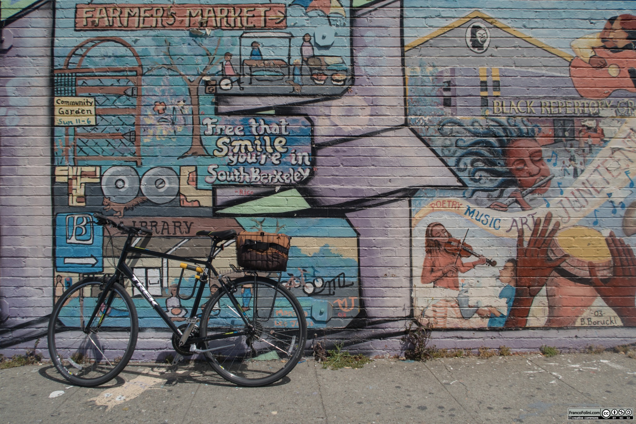 Bike and mural near the Ashby BART station in South Berkeley, CA