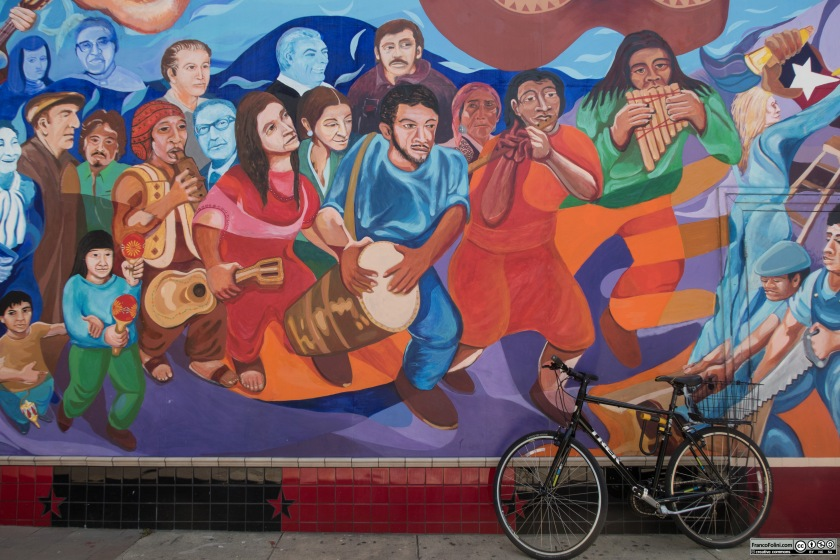 Bilke and mural at La Peña community cultural center in Berkeley