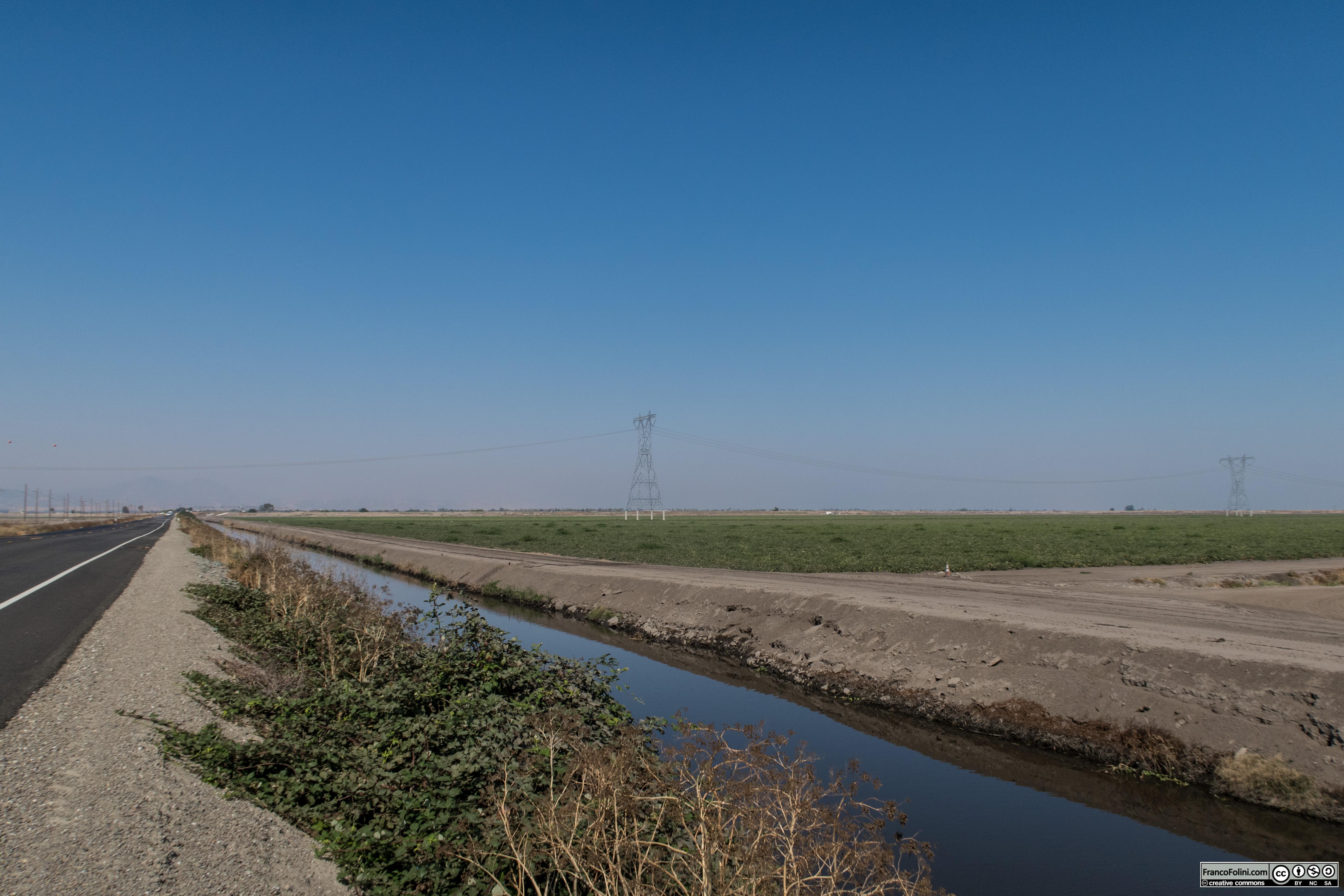Canali e coltivazioni di pomodori costeggiano la Highway 4 nel tratto che postra a Stockton provenendo da Brentwood.