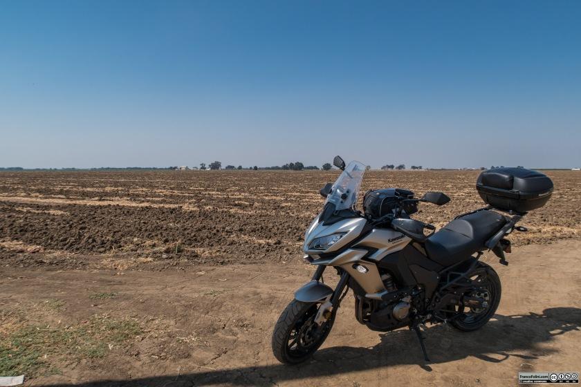Grandissime distese di campi arati costeggiano la Highway 4 tra Stockton e Farmington.