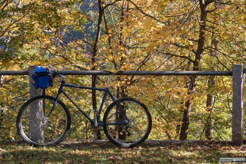 Lamia bicicletta sullo sfondo di una ricca tavolozza di colori autunnali