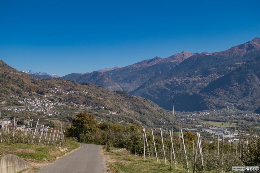 Alla fine della discesa si rientra a Ponte in Valtellina godendo di una splendida vista sulla Valtellina