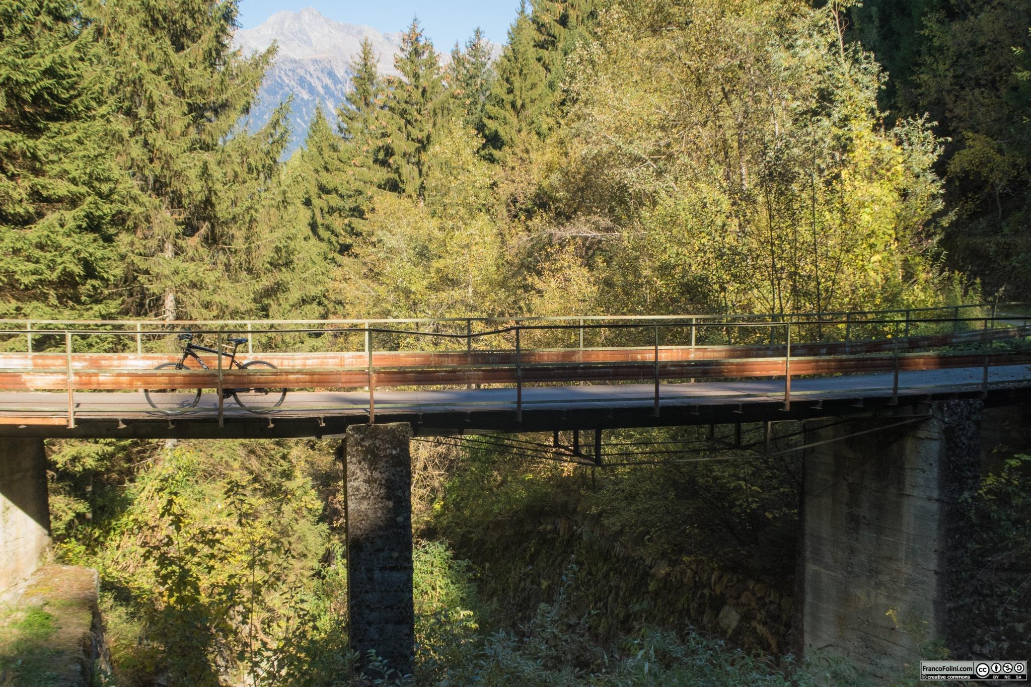 La decauville attraversa splendidi boschi e scavalca piccoli torrentelli con vecchi ponti in metallo.