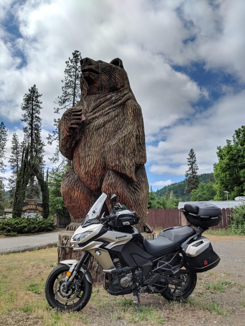 Ovviamente non poteva mancare una gigantesca statua in legno di un orso, simbolo dello Stato della California.