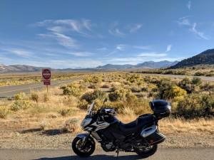 Da Lee Vining la Route 395 punta decisamente a sud percorrendo un'arida prateria in un'orizzonte vastissimo.