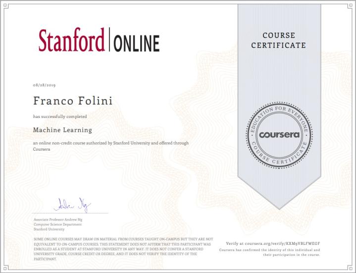 Coursera Machine Learning Certificate
