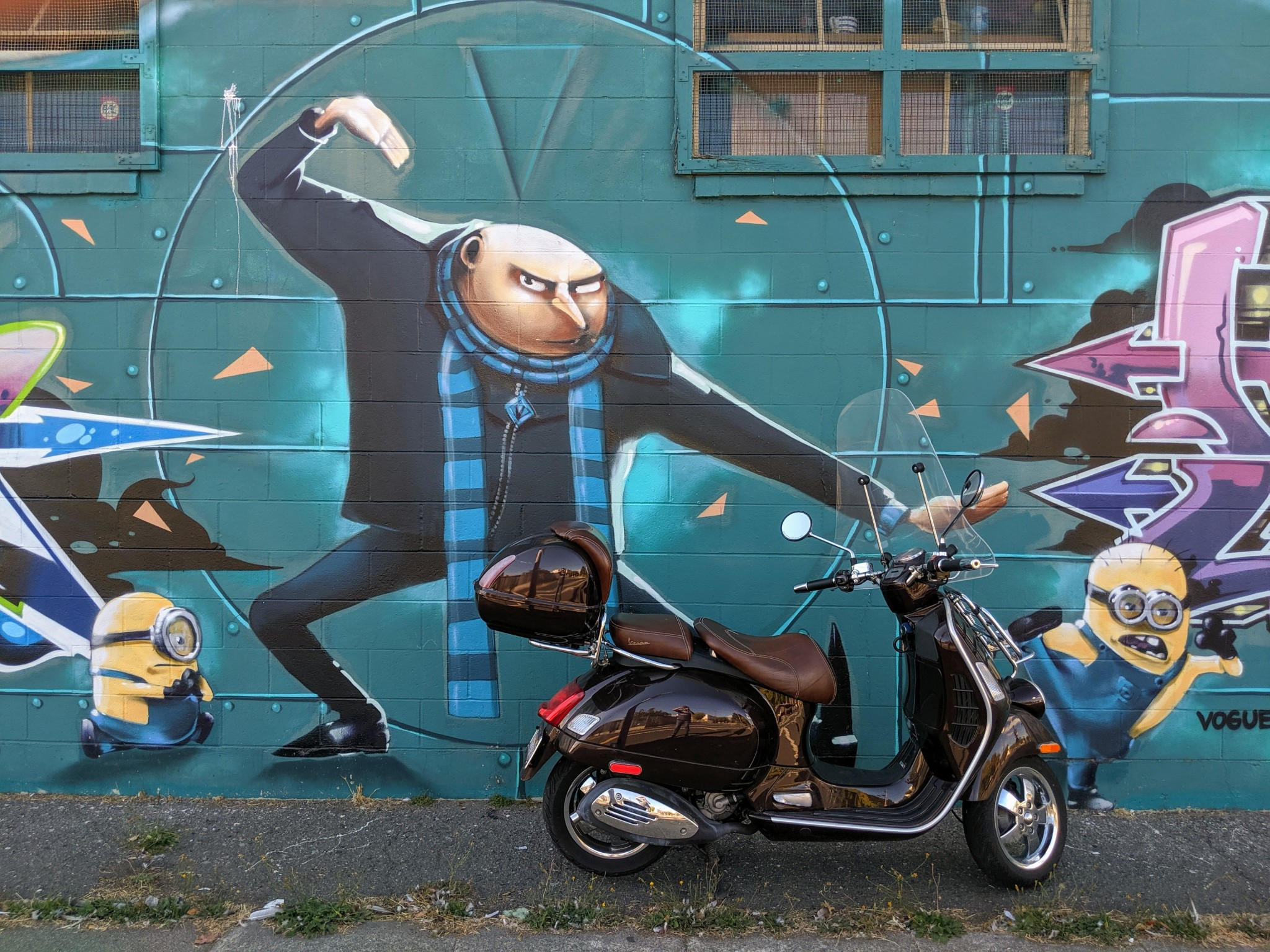 Mural: Despicable Me & the Vespa. Mural by artist  by Vogue TDK in Oakland, CA.