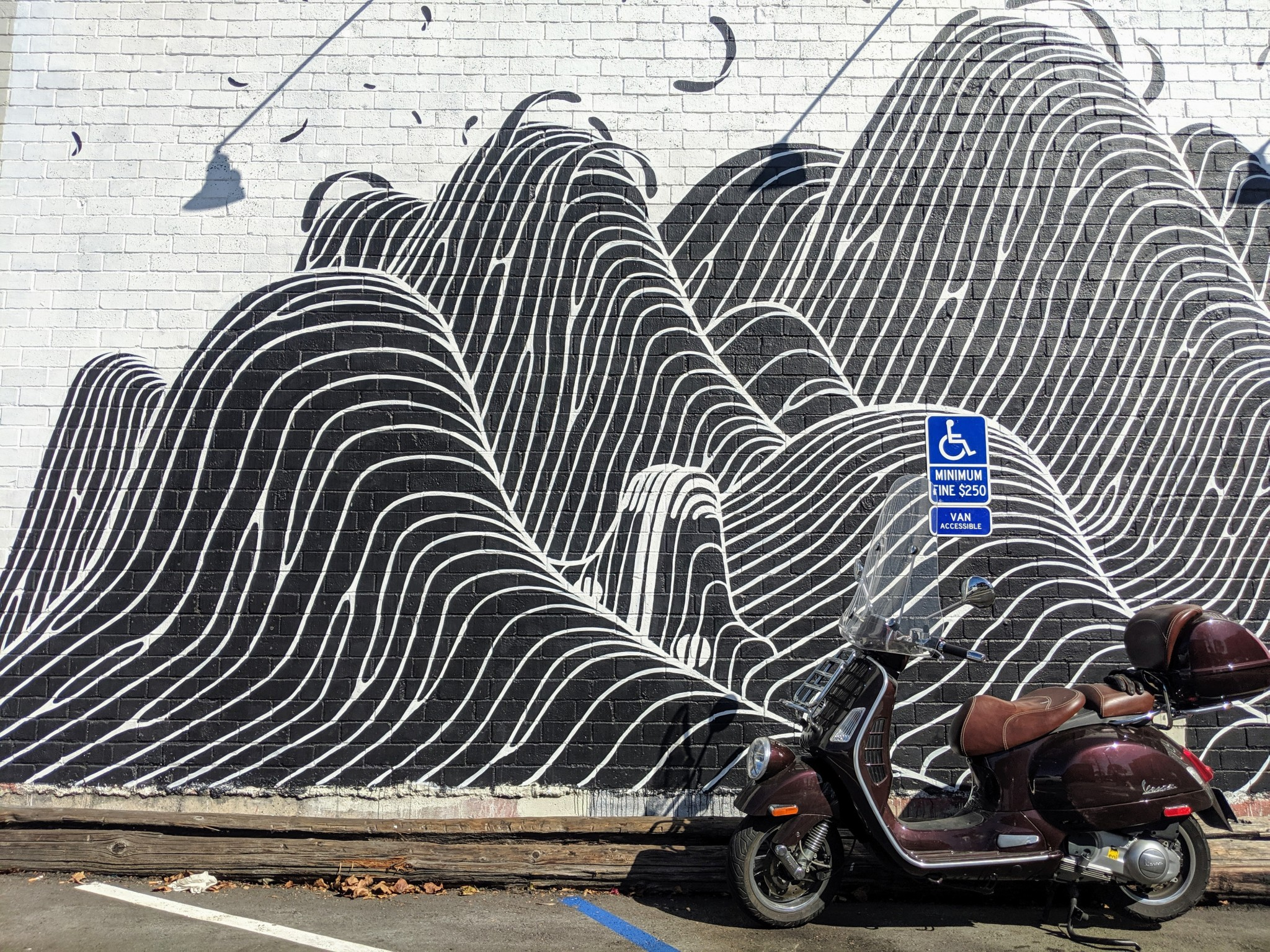 Mural: 3D Geometry & the Vespa. Mural created by artist Brendan Monroe for Converse's Wall to Wall project in Berkeley.