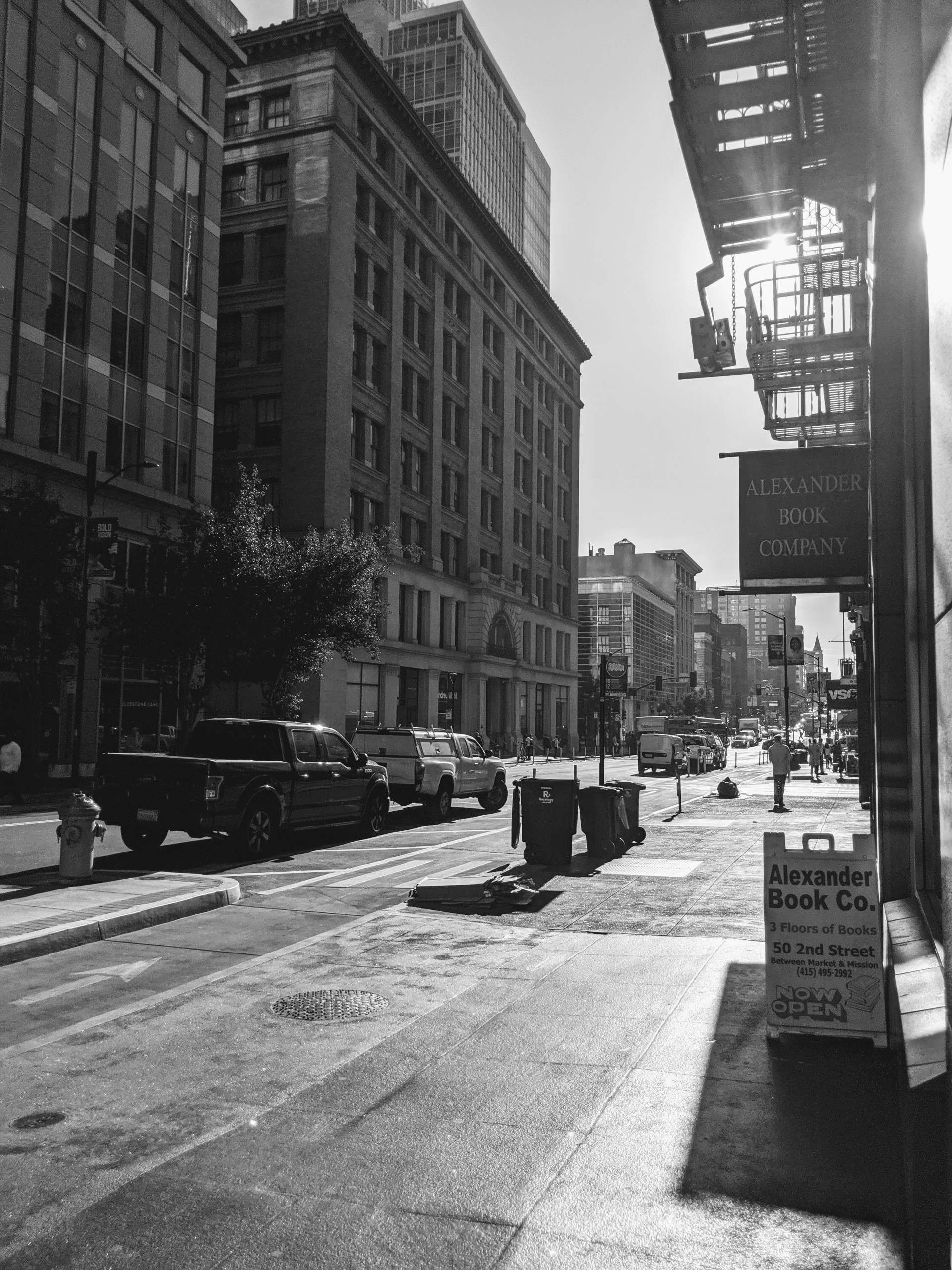Black and white image of 2nd Street, San Francisco.