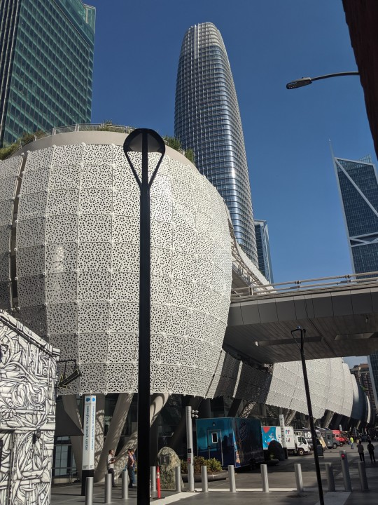 Street view of the new Salesforce Transit Center, San Francisco, California