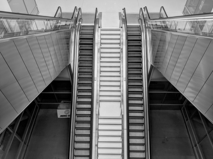 Escalators at the new Salesforce Transit Center, San Francisco, California