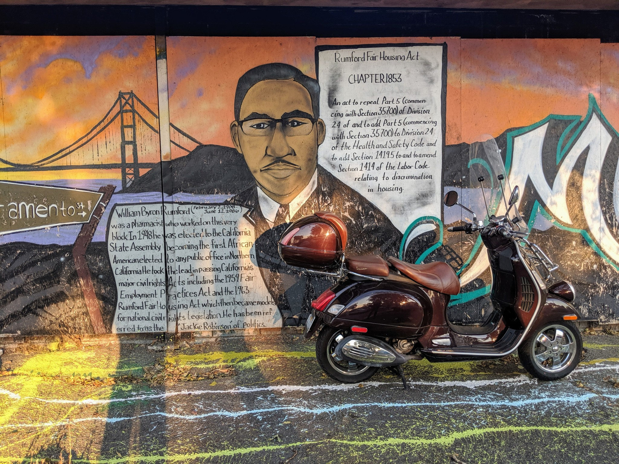 Sacramento Street, Berkeley: mural dedicated to William Byron Rumford ( 1908-1986).