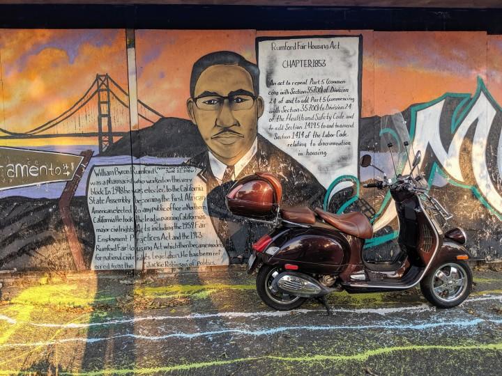 Sacramento Street, Berkeley: mural dedicated to William Byron Rumford (1908-1986)
