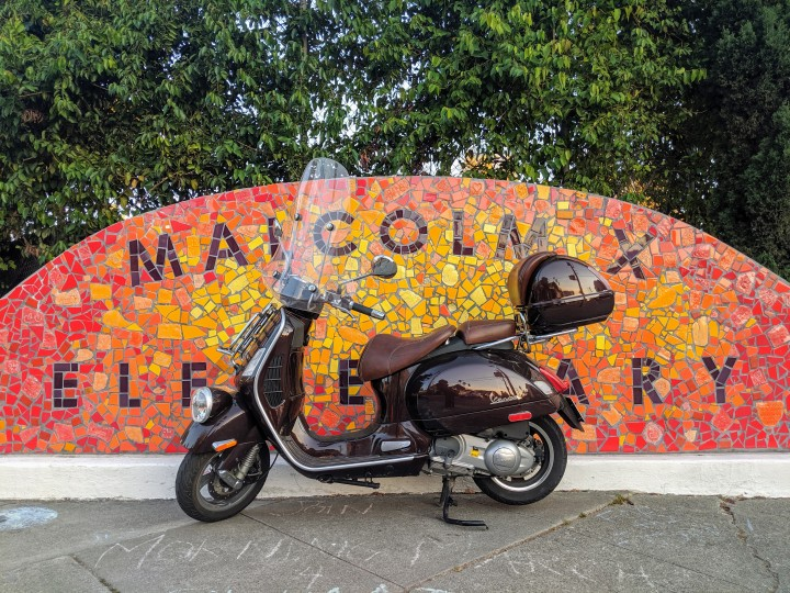 Ashby Avenue, Berkeley: mosaic on the corner of the Malcolm X Elementary School.