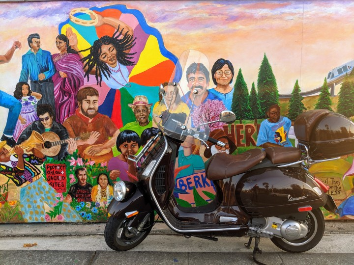 Ashby Avenue, Berkeley: a recent mural painted on the fence near the intersection with Martin Luther King Avenue.