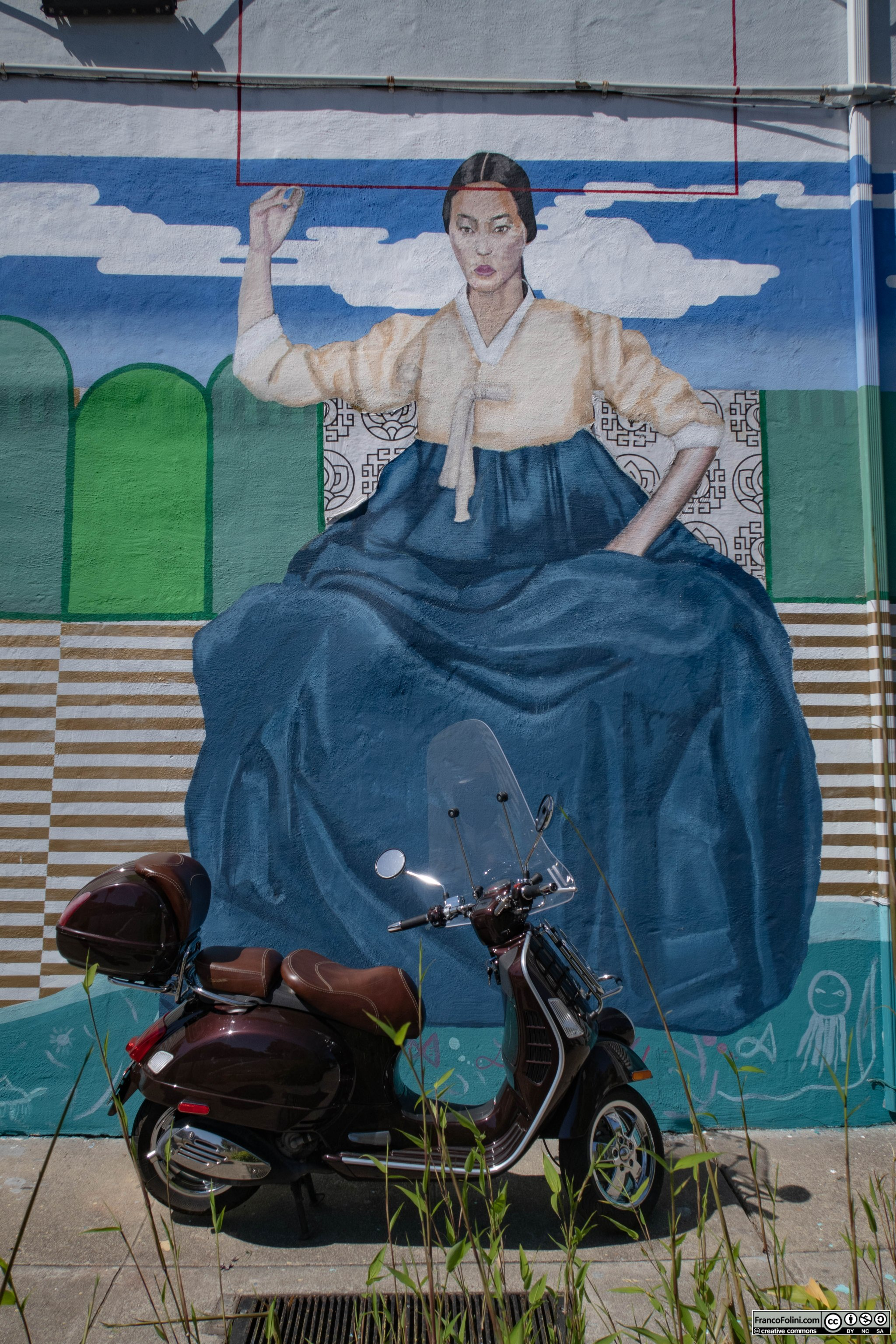 Mural & the Vespa: Korean lady by artist WestByMidwest, Oakland, CA.