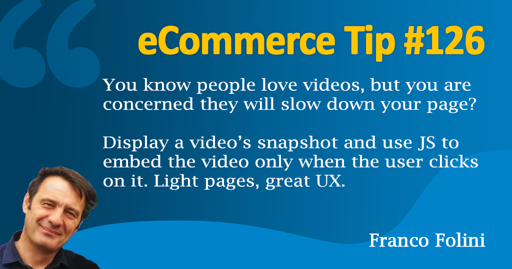 eCommerce :Show video snapshots and embed the videos with JS after the click.
