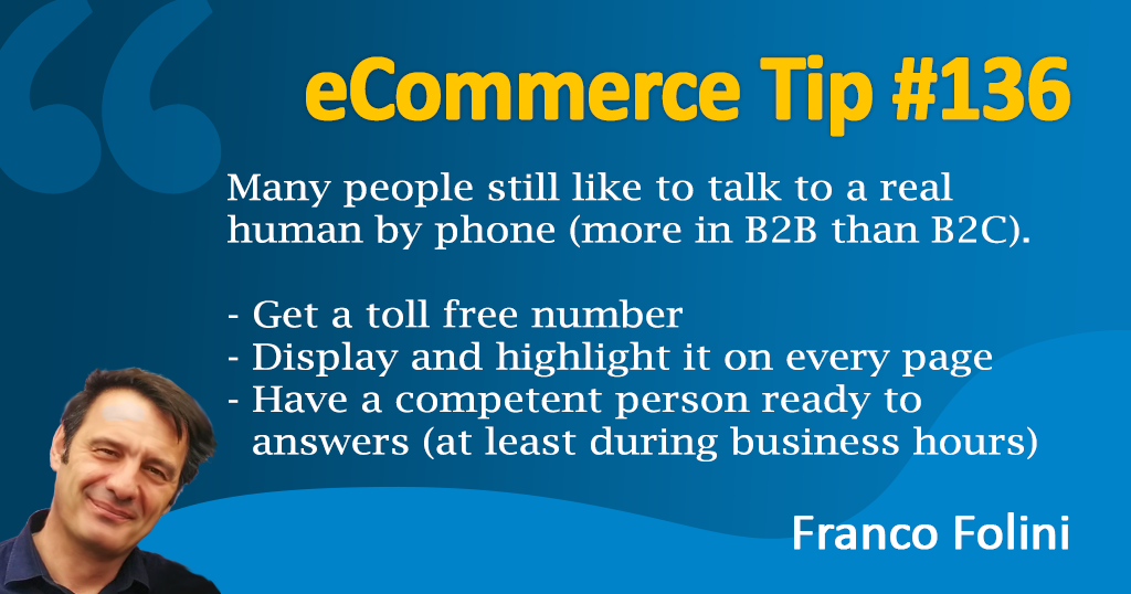 eCommerce: Get a toll free phone number, your customers will love it